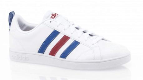 basket adidas homme blanche à bandes bleues et rouges